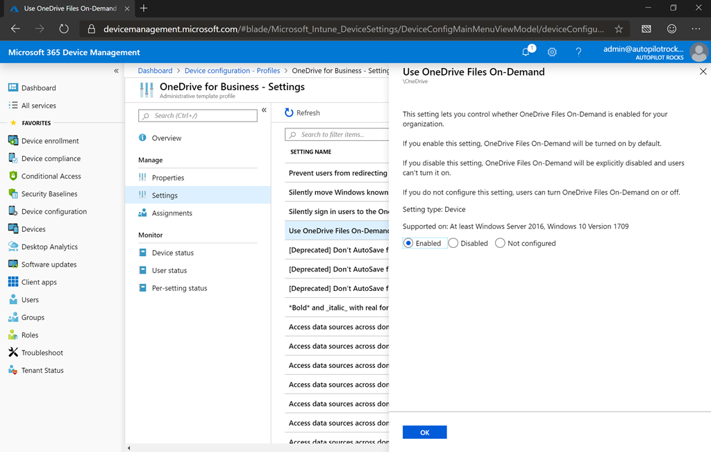 Automatically setting up OneDrive for Business via Intune