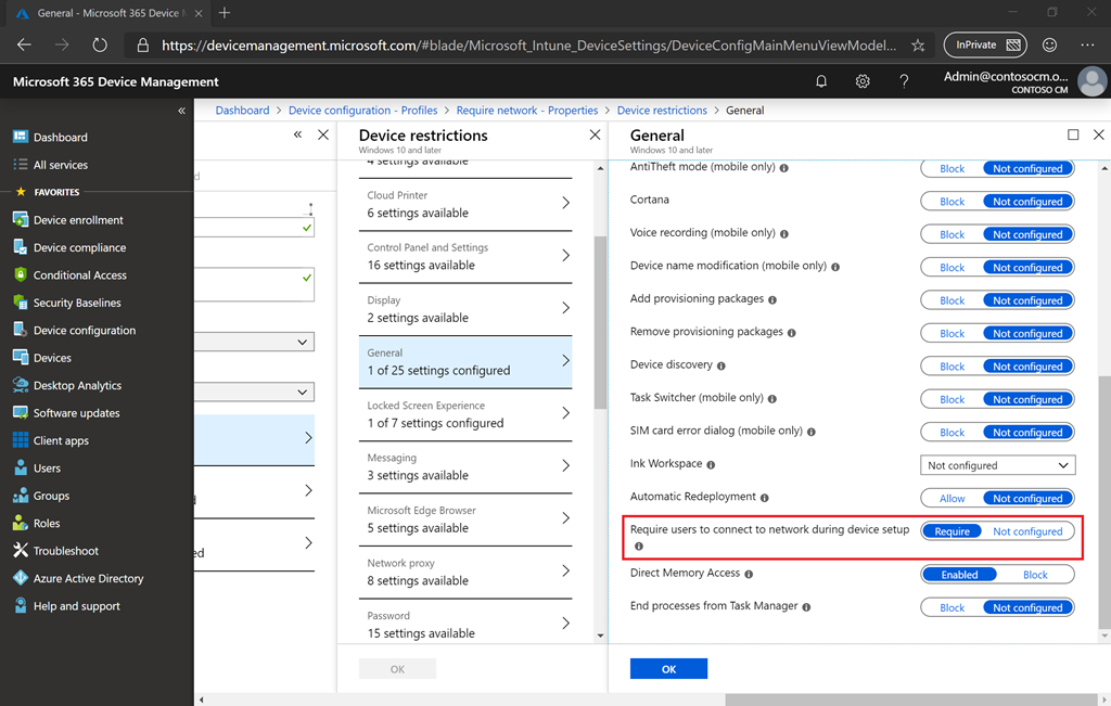 Requiring a network connection for the Windows Autopilot